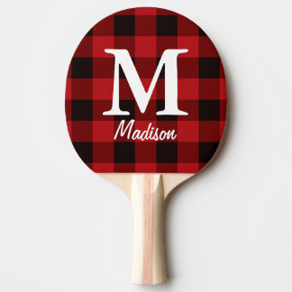 Primitive country lumberjack Red buffalo plaid Ping Pong Paddle