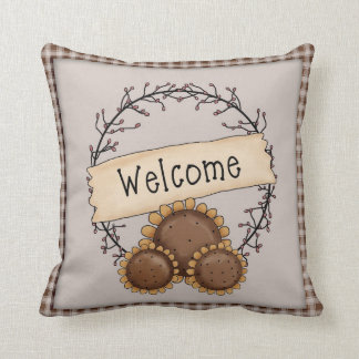 Primitive Country Sunflower Welcome Wreath Throw Pillow