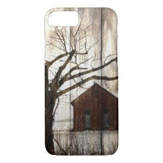 Primitive Country Woodgrain Winter Tree Red Barn iPhone 8/7 Case