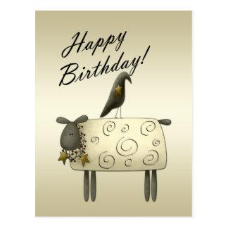 Primitive Crow and Sheep Birthday Postcard