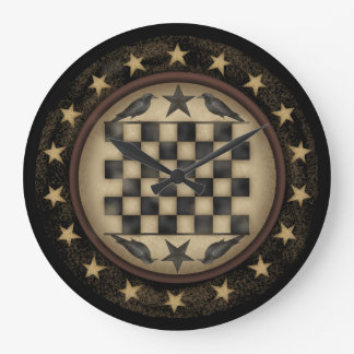 Primitive Crow Checkerboard Wall Clock