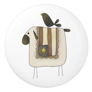 Primitive Cute Sheep and Crow Drawer Knobs Ceramic Knob