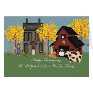 Primitive Farm Nephew & Family Thanksgiving Card