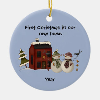 Primitive - First Christmas in our New Home Ceramic Ornament