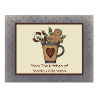 Primitive Gingerbread Man Candy Canes Recipe Cards