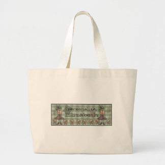 Primitive Girl and Cats Large Tote Bag