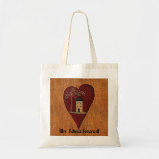 Primitive Heart Customizable Tote Bag
