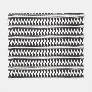 Primitive Indian Pomo Pattern Black White Fleece