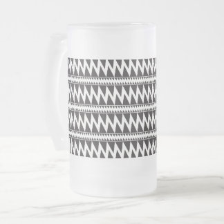 Primitive Indian Pomo Pattern Black White Frosted Frosted Glass Beer Mug