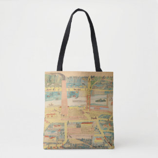 primitive, naïve art, village scene tote bag