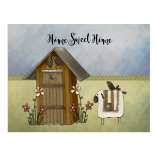 Primitive Outhouse Sheep Home Housewarming Party | Postcard