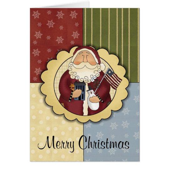 Primitive Patriotic Santa Christmas Card
