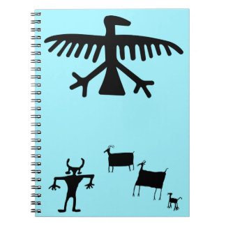 Primitive Petroglyph Tribal Deer Dance Spiral Notebook