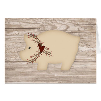 Primitive Pig Note Card