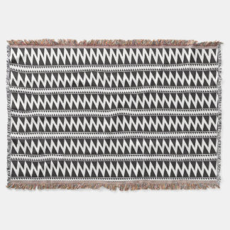 Primitive Pomo Pattern Black White Throw Blanket