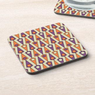 Primitive Purple & Orange Borneo Pattern Coasters