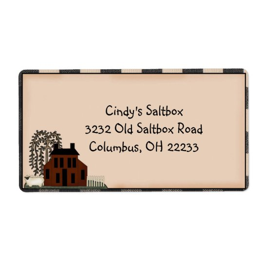 Primitive Saltbox Country Label