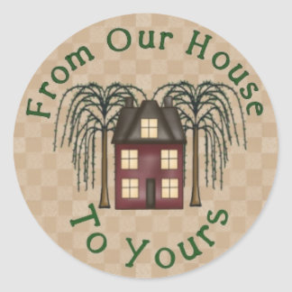 Primitive Saltbox House Round Sticker
