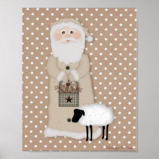 Primitive Santa Poster