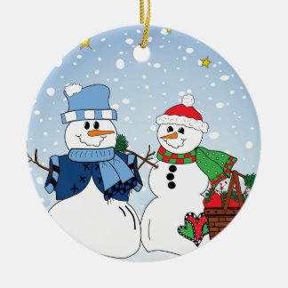 Primitive Snow Couple Ceramic Ornament