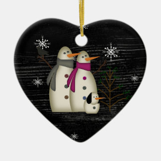 Primitive Snow Couple Ornament