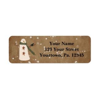 Primitive Snowman Address Label