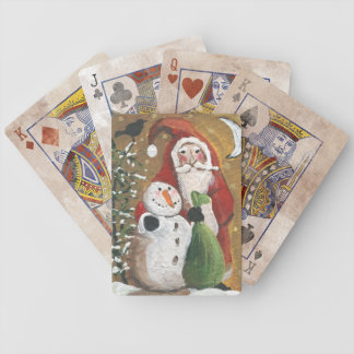 Primitive Snowman and Santa Claus Bicycle Playing Cards