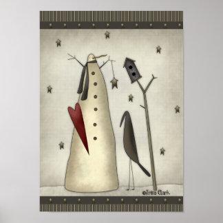Primitive Snowman, Birdhouse, Crow Poster