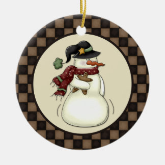 Primitive Snowman Gingerbread Man Round Ceramic Ornament