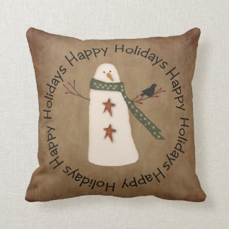 Primitive Snowman Holiday Pillow