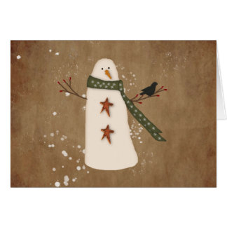 Primitive Snowman Large Font Christmas Card