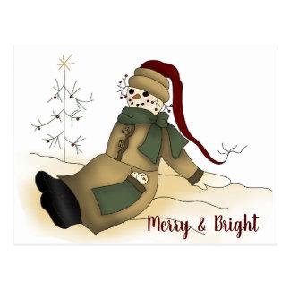 Primitive Snowman Personalized Christmas Postcard