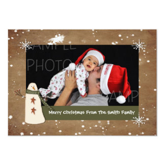 Primitive Snowman Photo Christmas Card