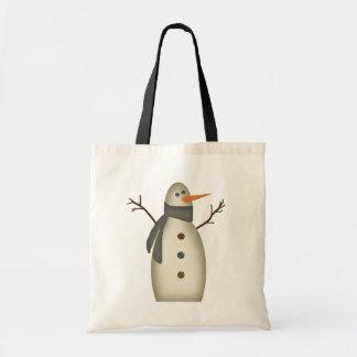 Primitive Snowman Tote Bag