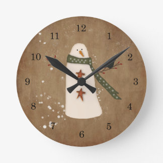 Primitive Snowman Wall Clock