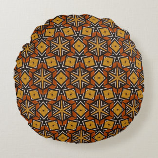 Primitive Split Pattern in Brown, Yellow, Black. Round Pillow