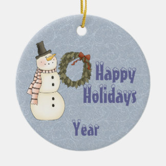 Primitive Style Snowman & House - Happy Holidays Ceramic Ornament
