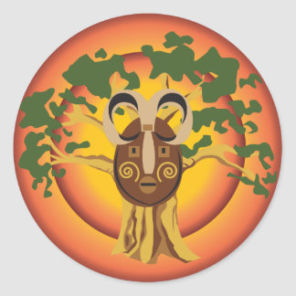 Primitive Tribal Mask on Balboa Tree Glowing Sun Classic Round Sticker