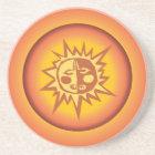 Primitive Tribal Sun Design Red Orange Glow Coaster