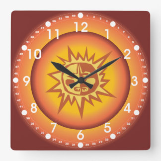 Primitive Tribal Sun Design Red Orange Glow Square Wall Clock