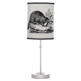 Primitive Vintage Fishing Beaver home office lamp