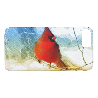 Primitive western country christmas red cardinal iPhone 8/7 case