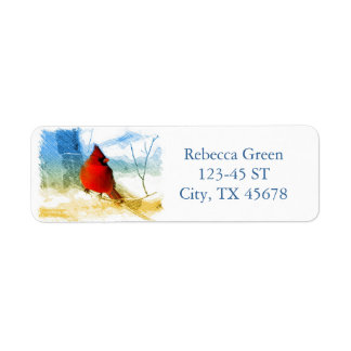 Primitive western country christmas red cardinal return address label