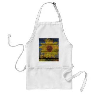 Primitive Western Country Wood Grain Sunflower Standard Apron