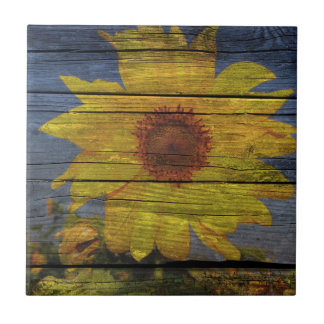 Primitive Western Country Wood Grain Sunflower Tile