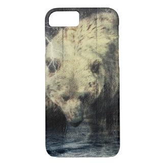 Primitive Western Woodgrain Woodland Grizzly Bear iPhone 8/7 Case