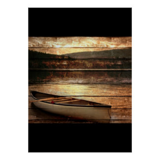 Primitive Wood grain reflection Lake House Canoe Poster