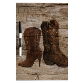 Primitive Wood grain Western country cowboy boots Dry Erase Whiteboard