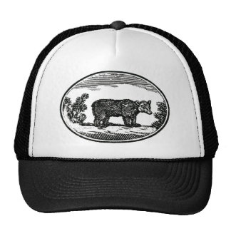 Primitive Woodcut - Bear Trucker Hat