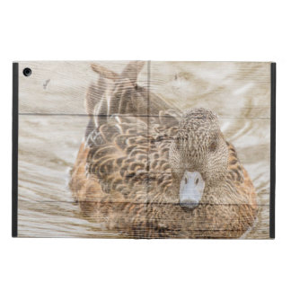 Primitive woodgrain country pond wild duck iPad air case